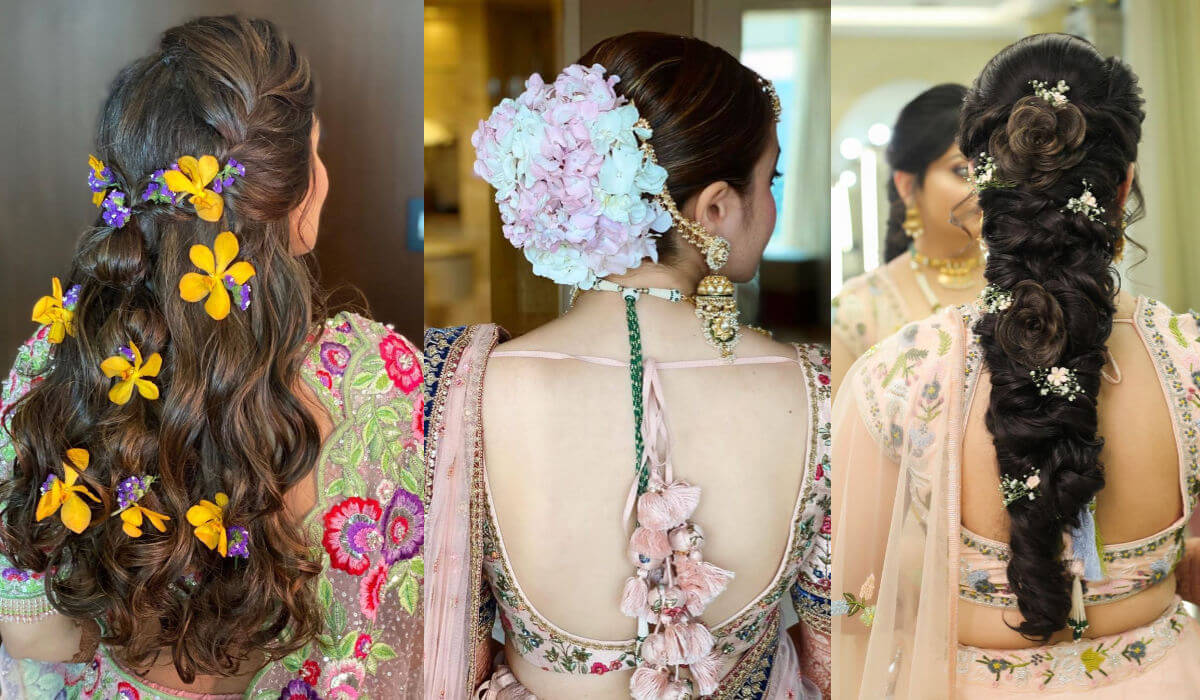 bridal hairstyle and dupatta setting